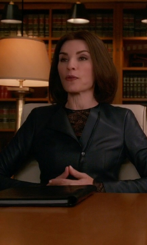 Julianna Margulies with Akris	 Asymmetric Peplum Leather Jacket in The Good Wife