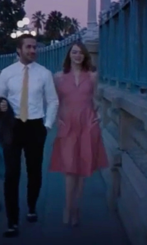 Emma Stone with Mary Zophres (Costume Designer) Custom Made Fold Over Collar Halter Dress in La La Land