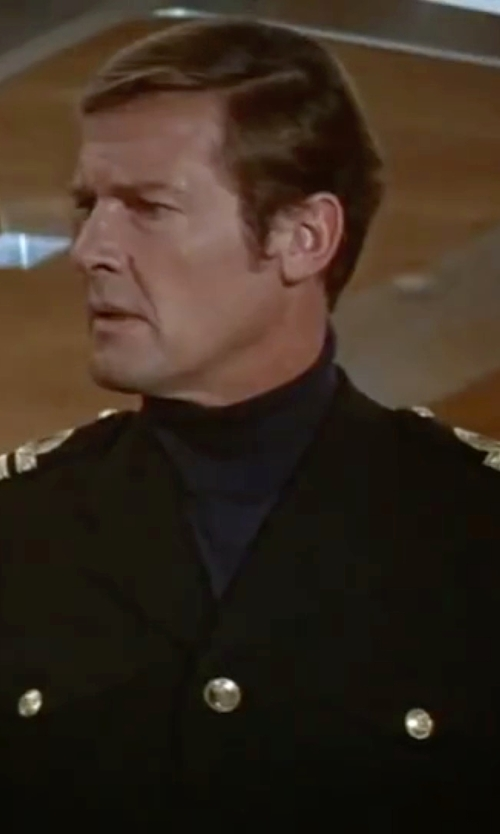 Roger Moore with The Salute Uniforms US Army ASU Enlisted Dress Blue Coat in The Spy Who Loved Me