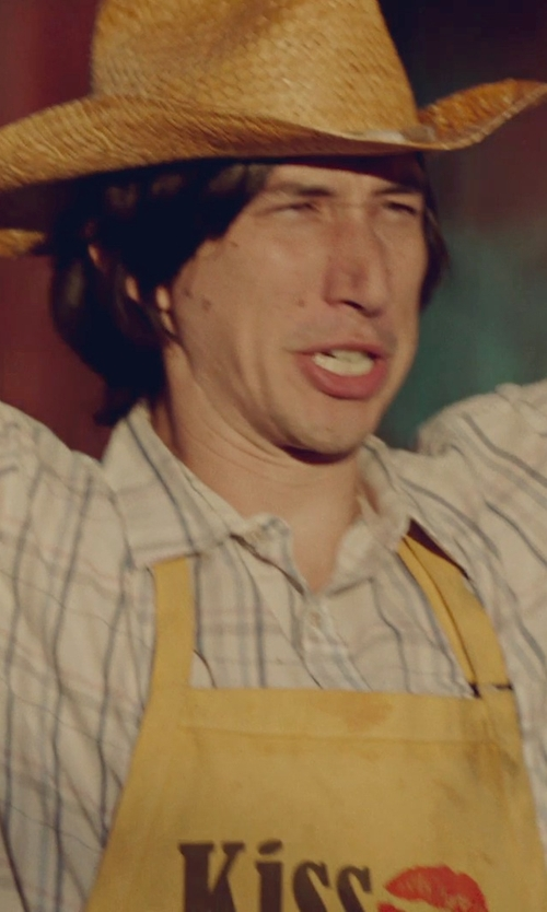 Adam Driver with Resistol Ranch Plaid Western Shirt in While We're Young