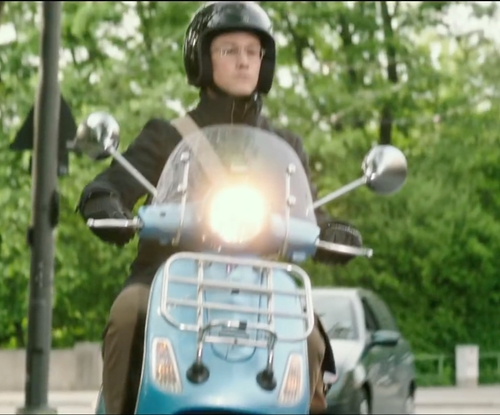 Joseph Gordon-Levitt with Vespa LX 3V Scooter in Snowden