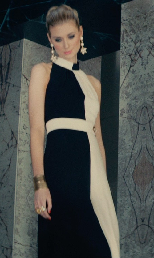 Elizabeth Debicki with Badgley Mischka Colorblock Halter Gown in The Man from U.N.C.L.E.