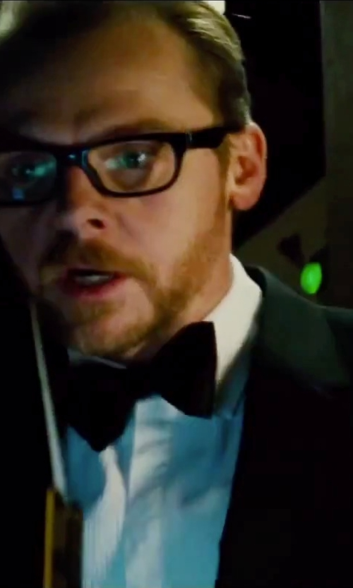 "Simon Pegg with Ralph Lauren Black Label Silk Peaked Lapel ""Anthony"" Tuxedo Suit in Mission: Impossible - Rogue Nation"