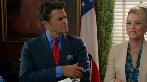 John Michael Higgins with Brooks Brothers Milano Fit Navy 1818 Suit in Pitch Perfect 2
