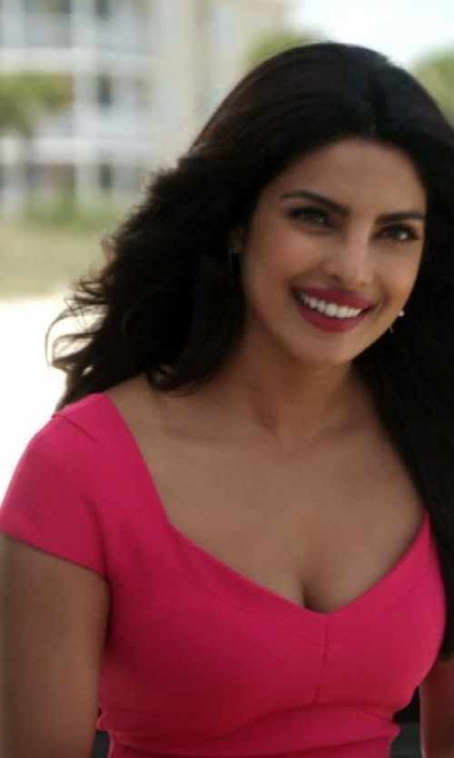 Priyanka Chopra with Roland Mouret Casson Dress in Baywatch