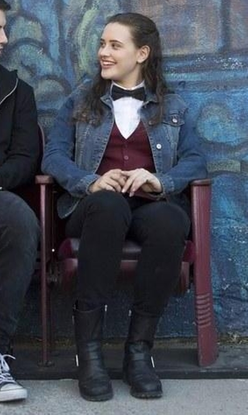 Katherine Langford with Frye Engineer 8R Boots in 13 Reasons Why