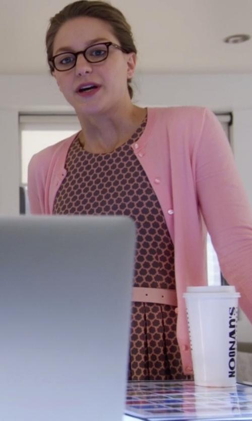 Melissa Benoist with J. Crew Jackie Cardigan Sweater in Supergirl