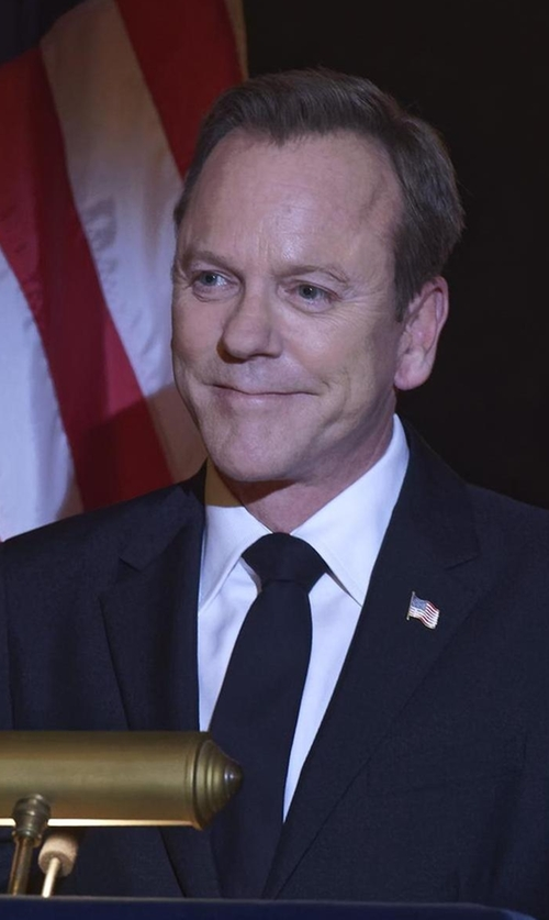 Kiefer Sutherland with Burberry Modern-Fit Wool Suit in Designated Survivor
