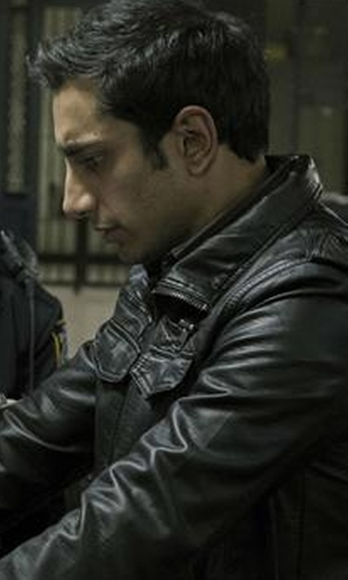 Riz Ahmed with Tommy Hilfiger Faux-Leather Stand-Collar Bomber Jacket in The Night Of