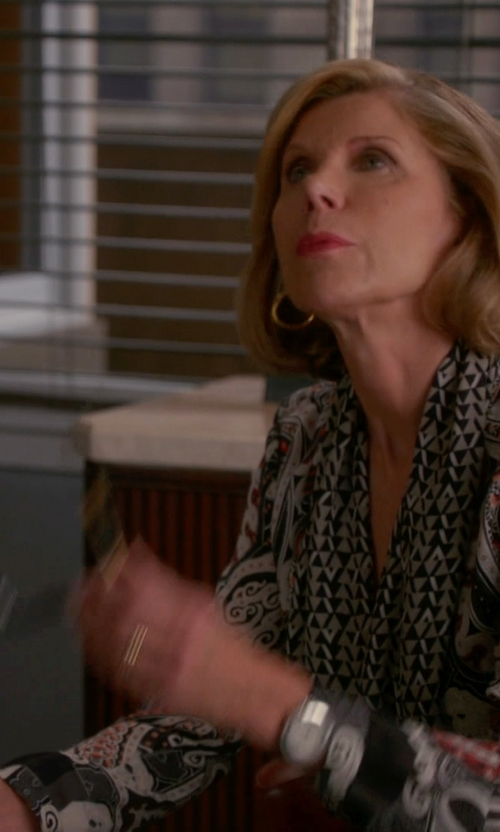 Christine Baranski with Cotton Candy Floral Paisley Tunic in The Good Wife