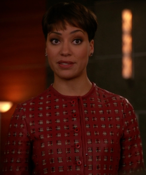 Cush Jumbo with Emporio Armani Lambskin Jacket in The Good Wife
