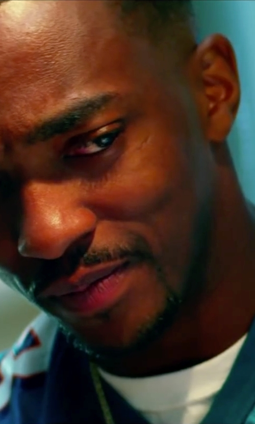Anthony Mackie with Jewel Tie Yellow Gold Diamond Cut Figaro Chain Solid Necklace in Pain & Gain