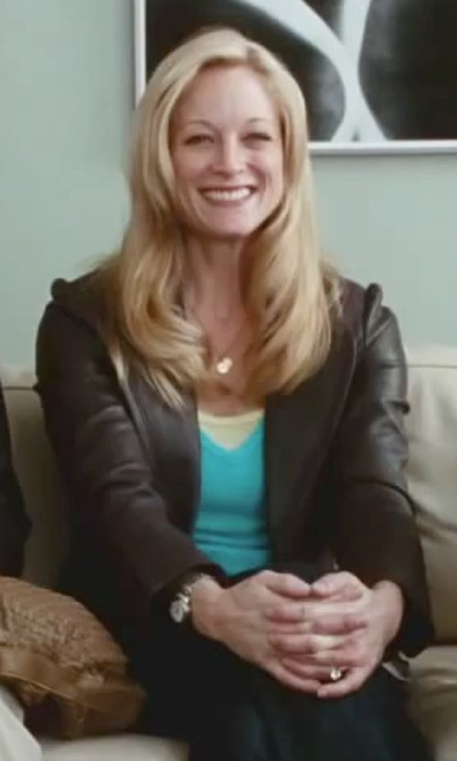 Teri Polo with 7 For All Mankind Collarless Leather Moto Jacket in Little Fockers