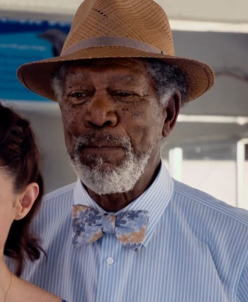 Morgan Freeman with Barneys New York Straw Fedora in Dolphin Tale 2
