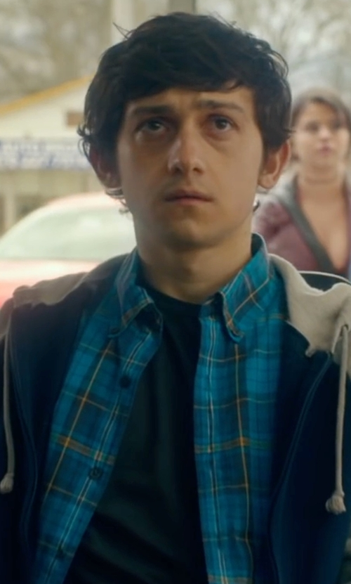 Craig Roberts with Original Penguin Herringbone Plaid Shirt in The Fundamentals of Caring