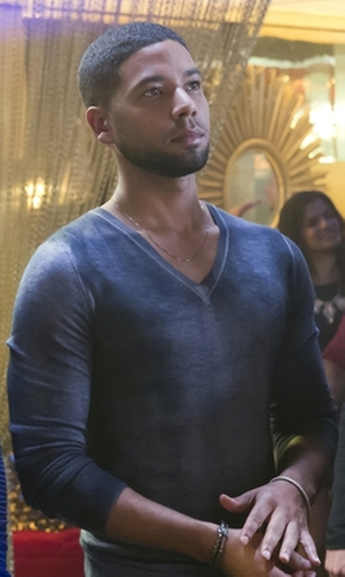 Jussie Smollett with Burberry Grey Merino Wool Knit V-Neck Sweater in Empire