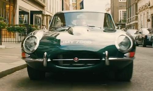 Taron Egerton with Jaguar 1964 E-Type Series 1 Coupe in Kingsman: The Golden Circle