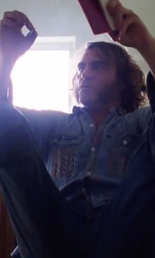Joaquin Phoenix with 7 For All Mankind Carsen Straight Legged Jeans in Inherent Vice