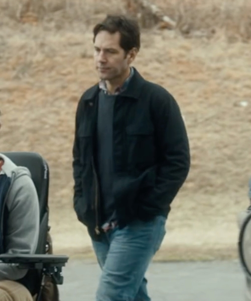 Paul Rudd with Calvin Klein Nylon Fabric Four-Pocket Jacket in The Fundamentals of Caring