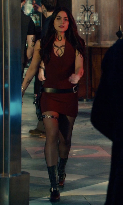Emeraude Toubia with Burberry Westmarsh Embellished Boots in Shadowhunters
