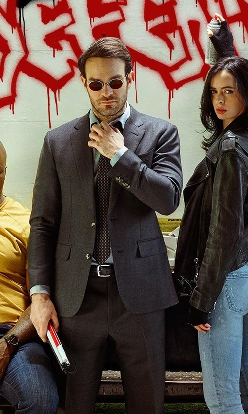 Charlie Cox with Armani Collezioni Stud Printed Silk Tie in Marvel's The Defenders