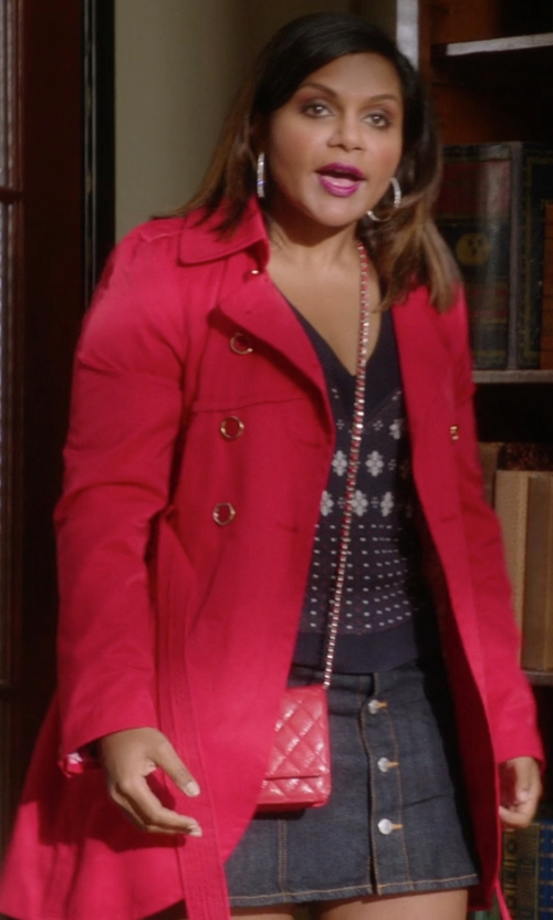 Mindy Kaling with Guess Cutaway Front Trench Coat in The Mindy Project