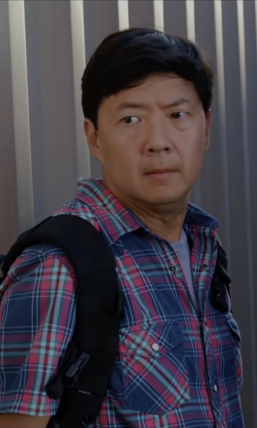 Ken Jeong with Paul Smith Short Sleeve Plaid Button Down Shirt in Ride Along 2