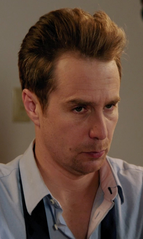 Sam Rockwell with Ermenegildo Zegna Tonal-Herringbone Dress Shirt in Laggies