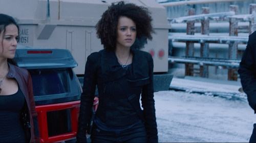 Nathalie Emmanuel with Avant Toi Back Trim Detail Semi Sheer Tank Top in The Fate of the Furious