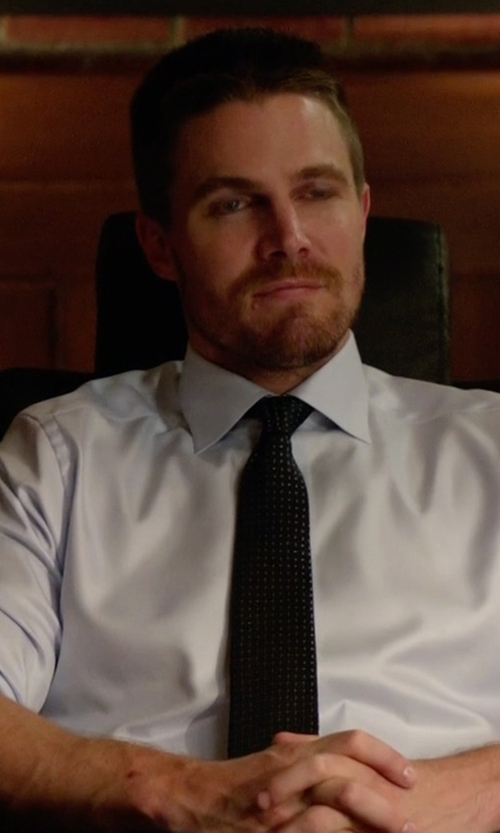Stephen Amell with Prada Dot Printed Silk Tie in Arrow