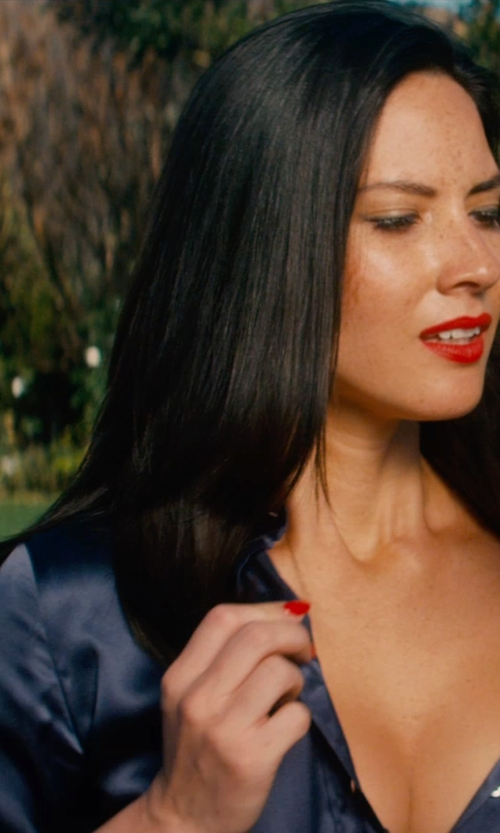 Olivia Munn with Brunello Cucinelli Button Down Blouse in Mortdecai