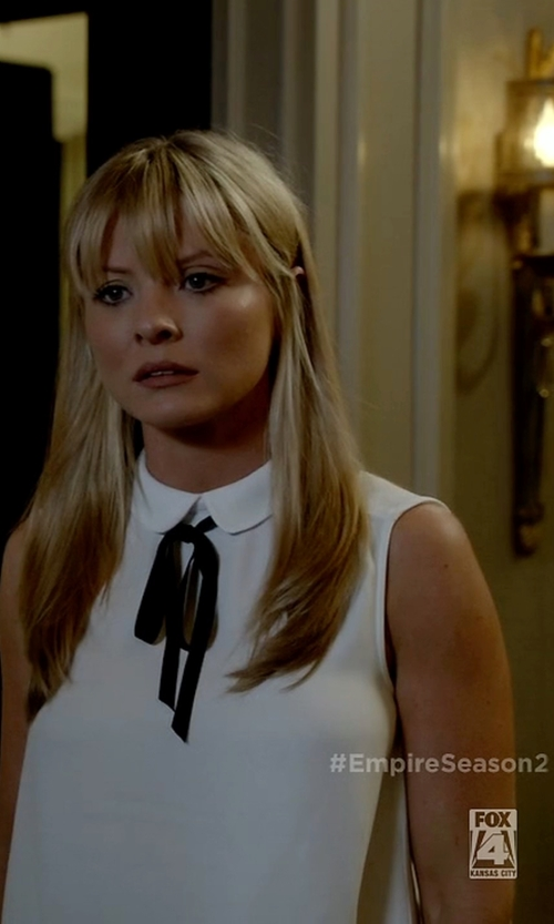 Kaitlin Doubleday with Theory Duria Silk Sleeveless Blouse in Empire