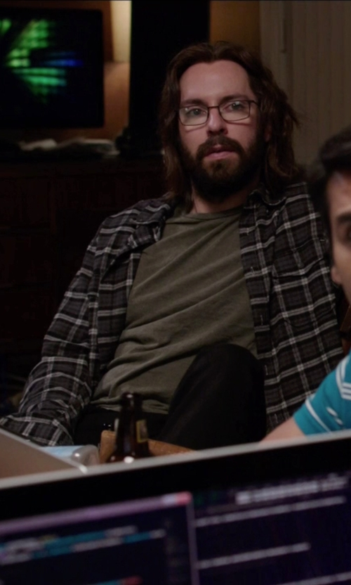 Martin Starr with Vince Cotton Check Sportshirt in Silicon Valley