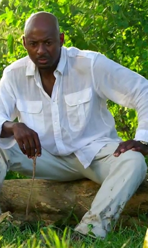 Romany Malco with Banana Republic Camden-Fit Utility Shirt in Mad Dogs