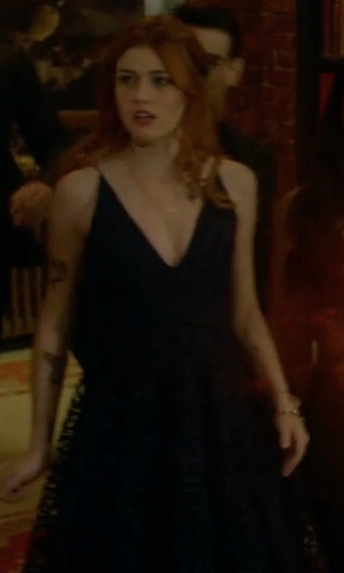 Katherine McNamara with Nicholas Geo Floral Lace Ball Dress in Shadowhunters