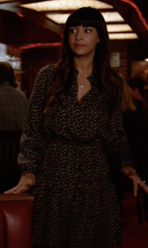 Hannah Simone with Rebecca Taylor Dragonfly Silk Dress in New Girl