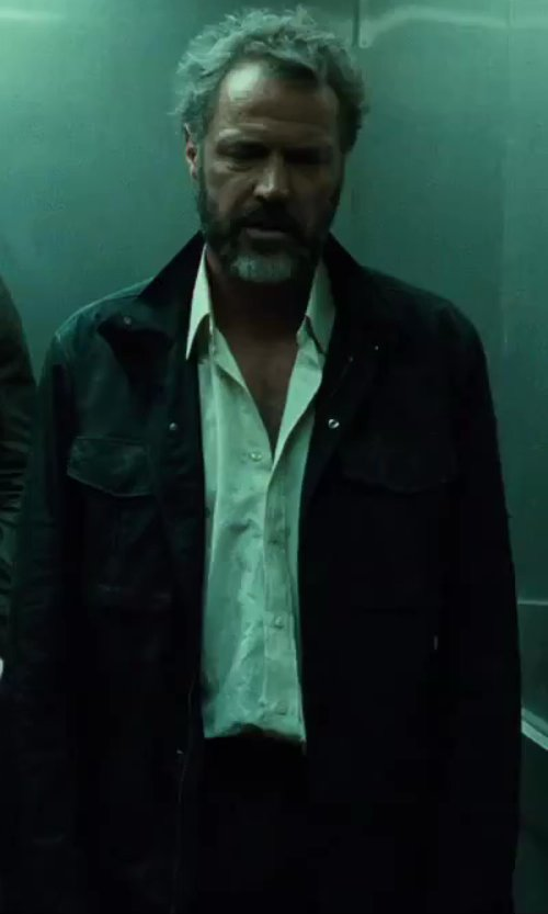 Sebastian Koch with Ann Demeulemeester Button Down Shirt in A Good Day to Die Hard