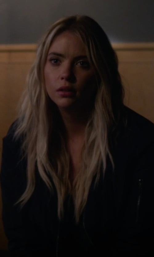 Ashley Benson with Topshop MA1 Zip Bomber Jacket in Pretty Little Liars