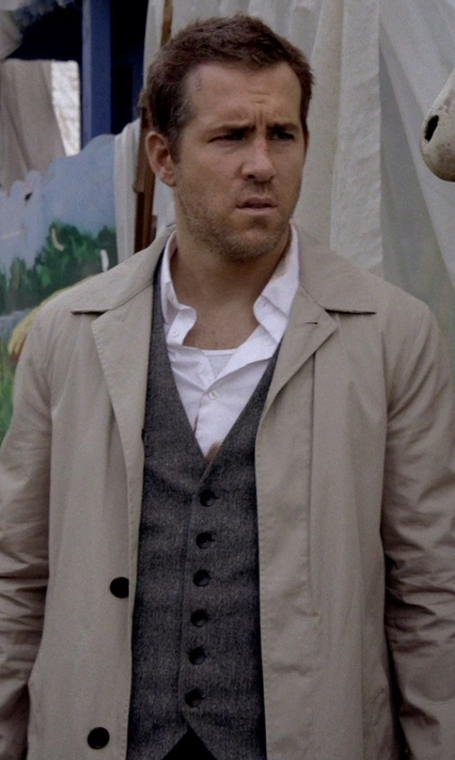 Ryan Reynolds with Perry Ellis Textured Chambray Suit Vest in Self/Less