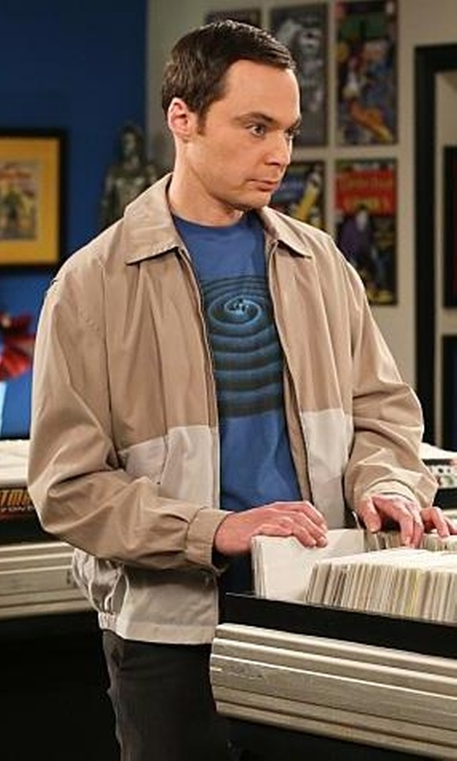 Jim Parsons with Perry Ellis Microfiber Color Block Jacket in The Big Bang Theory