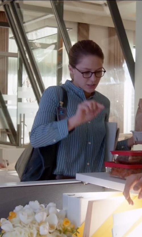 Melissa Benoist with Fossil Sydney Shopper Shoulder Bag in Supergirl