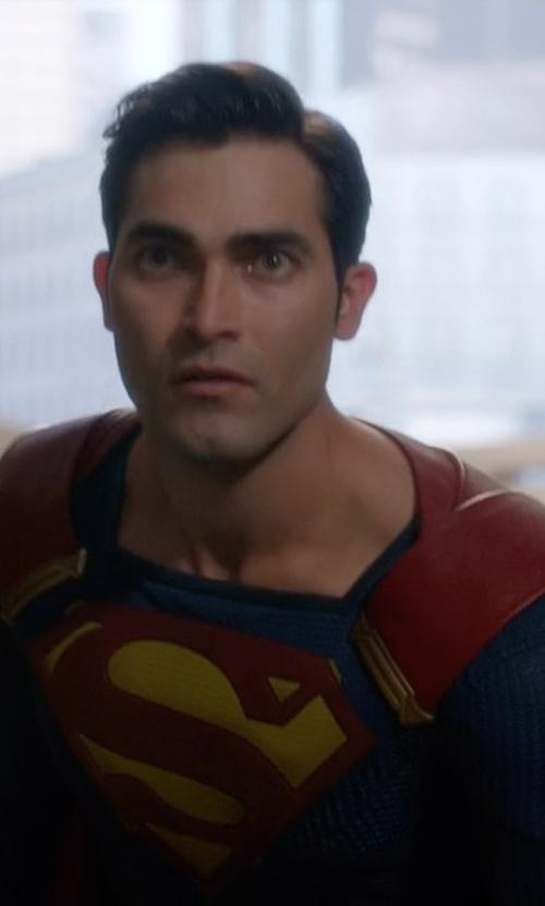 Tyler Hoechlin with Kiersten Ronning (Costume Designer) Custom Made Superman Costume in Supergirl