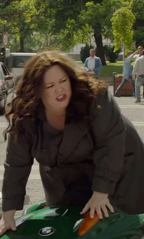 Melissa McCarthy with Vera Wang Double Breasted Long Trench Coat in Spy