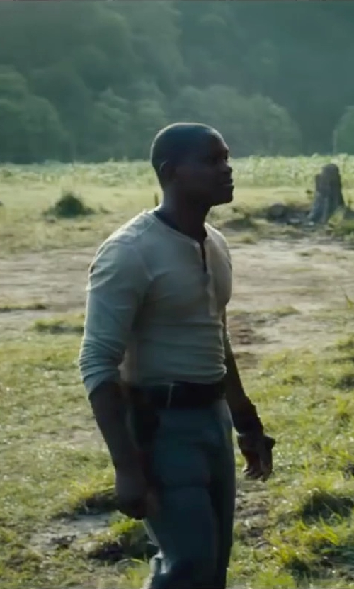 Aml Ameen with J.Crew Homespun Knitwear Oldtimer Henley Shirt in The Maze Runner