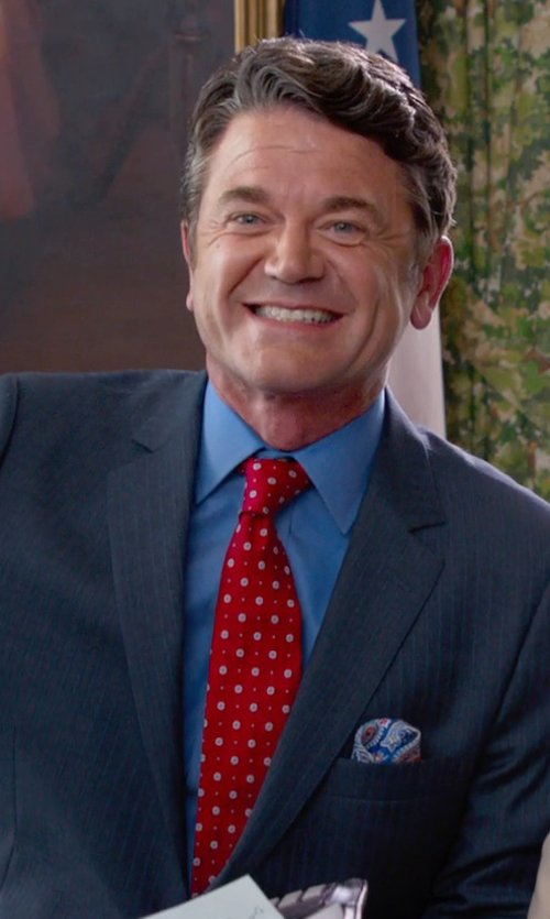 John Michael Higgins with Gitman Polka Dot Silk Tie in Pitch Perfect 2