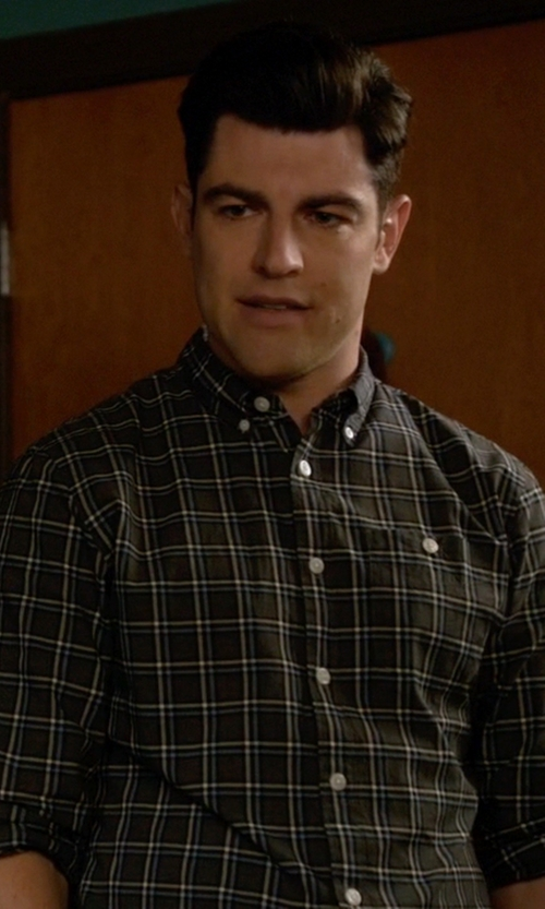 Max Greenfield with Banana Republic Tailored Check Oxford Shirt in New Girl