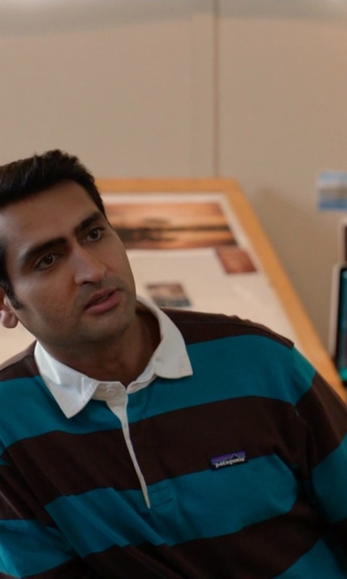 Kumail Nanjiani with Patagonia Tobago Blue Sender Rugby Shirt in Silicon Valley