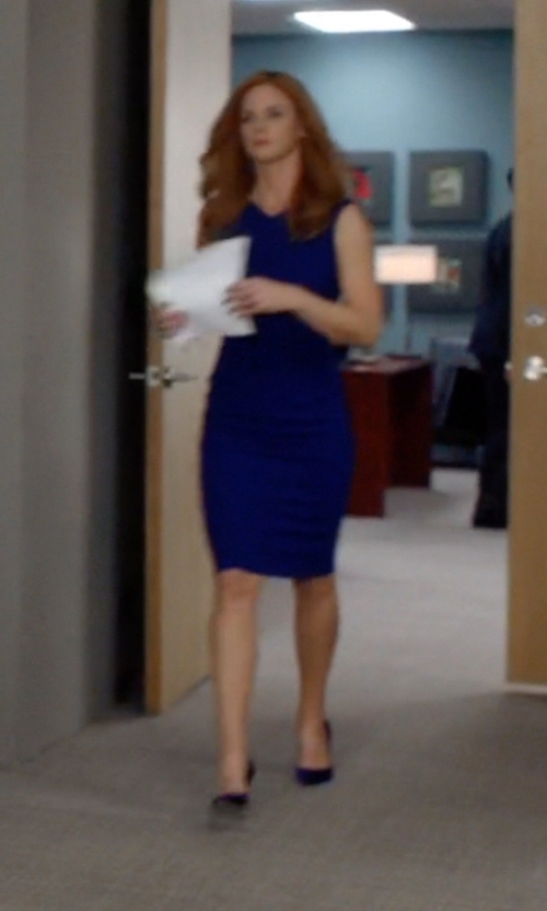 Sarah Rafferty with Christian Louboutin Iriza Suede Point-Toe Pumps in Suits