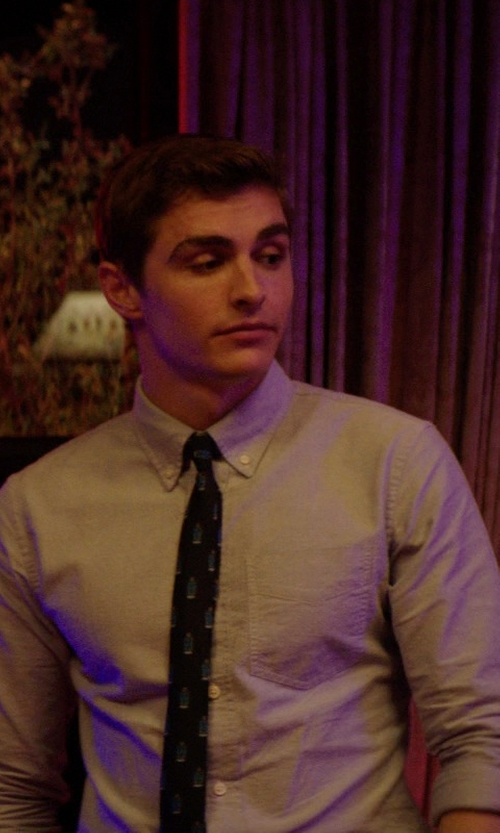 Dave Franco with Nathan J. Phi Beta Sigma Fraternity Blue White Shield Necktie in Neighbors
