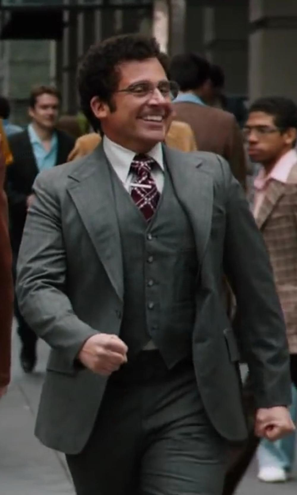 Steve Carell with Hugo Boss 'Hattrick' Trim Fit Three-Piece Suit in Anchorman 2: The Legend Continues